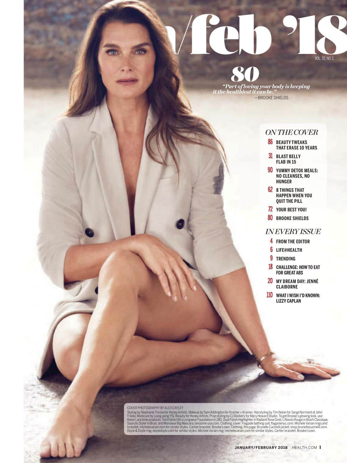 Brooke Shields Stills in Health Magazine, January 2018 Issue