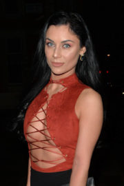 Cally Jane Beech shows off cleavage in Open Top Night Out in London