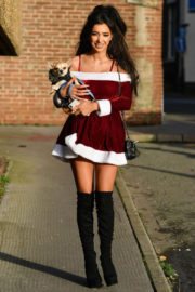 Chloe Khan Stills Out with Her Dog in Liverpool 2017/12/18