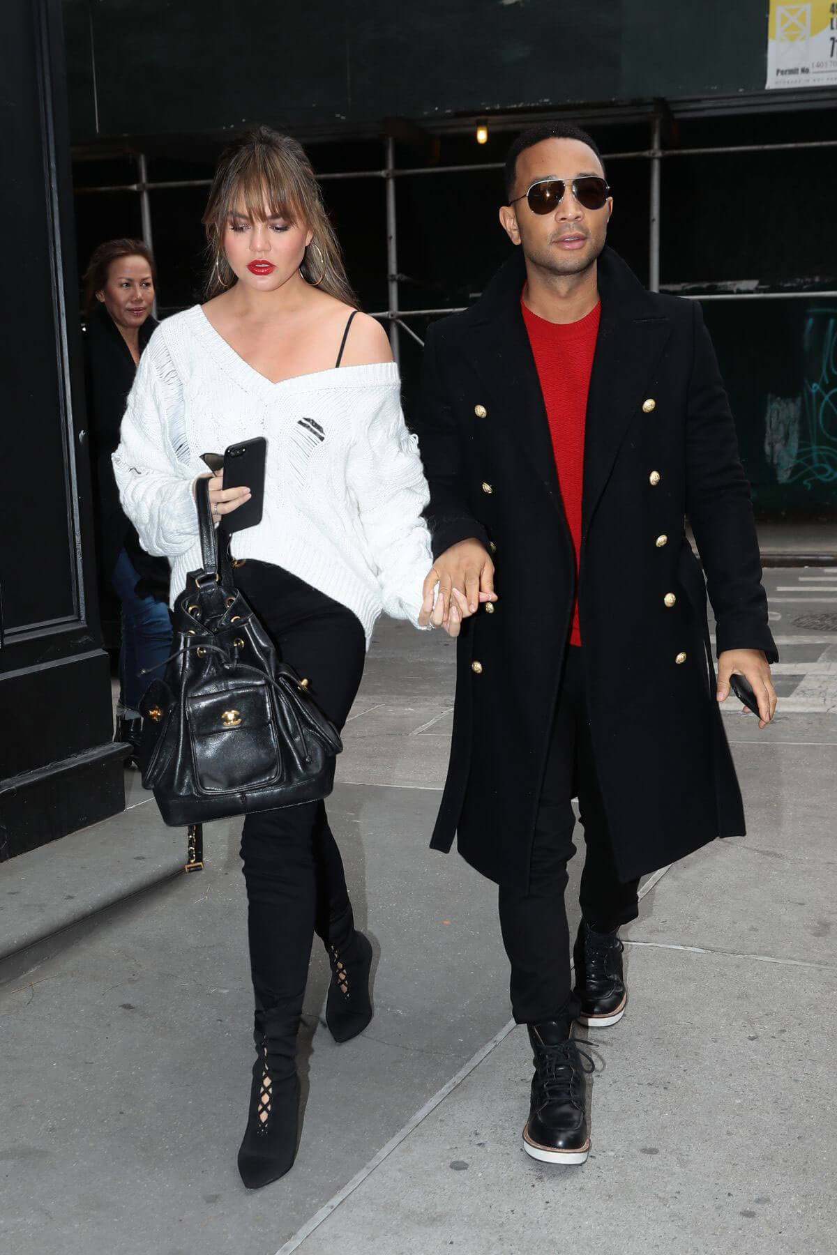 Chrissy Teigen and John Legend Stills Out in New York 2017/12/15