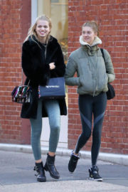 Daphne Groeneveld in Black Winter Coat & Tights Bottom Leaves a Gym in New York