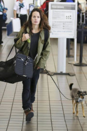 Elizabeth Reaser with her dogs at LAX Airport in Los Angeles