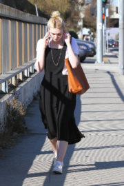 Elle Fanning in Black Long Frock Stills Out and About in Los Angeles