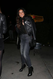 Emmanuelle Chriqui wears Leather Jacket & Jeans Night Out in Los Angeles