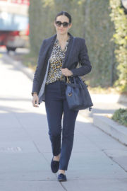 Emmy Rossum in Animal Print Shirt Out Shopping in Beverly Hills