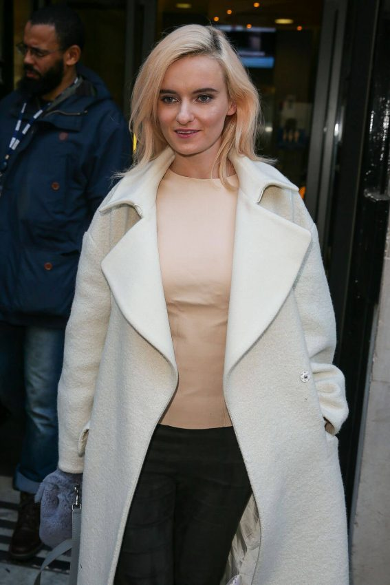 Grace Chatto in White Long Coat & Black Jeans Leaves BBC Radio 2 in London