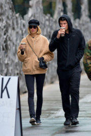 Hailey Clauson and Julian Herrera Stills Out for Coffees in New York 2017/12/13