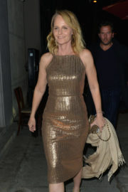Helen Hunt in Golden Dress at Craig's Restaurant in West Hollywood