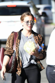 Hilary Duff in Animal Print Jacket & Tights Picks Up Lunch in Los Angeles