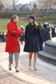 Jennifer Lopez and Vanessa Hudgens on the Set of Second Act in New York 2017/12/04