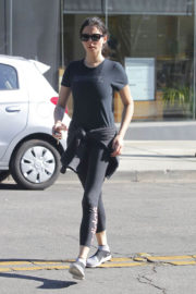 Jessica Gomes in Tee & Tights Leaves a Gym in Beverly Hills