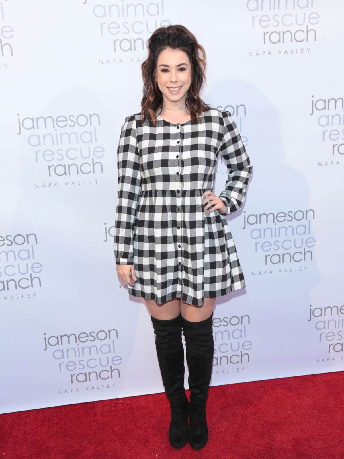 Jillian Rose Reed wears Checked Dress at a Party in Beverly Hills