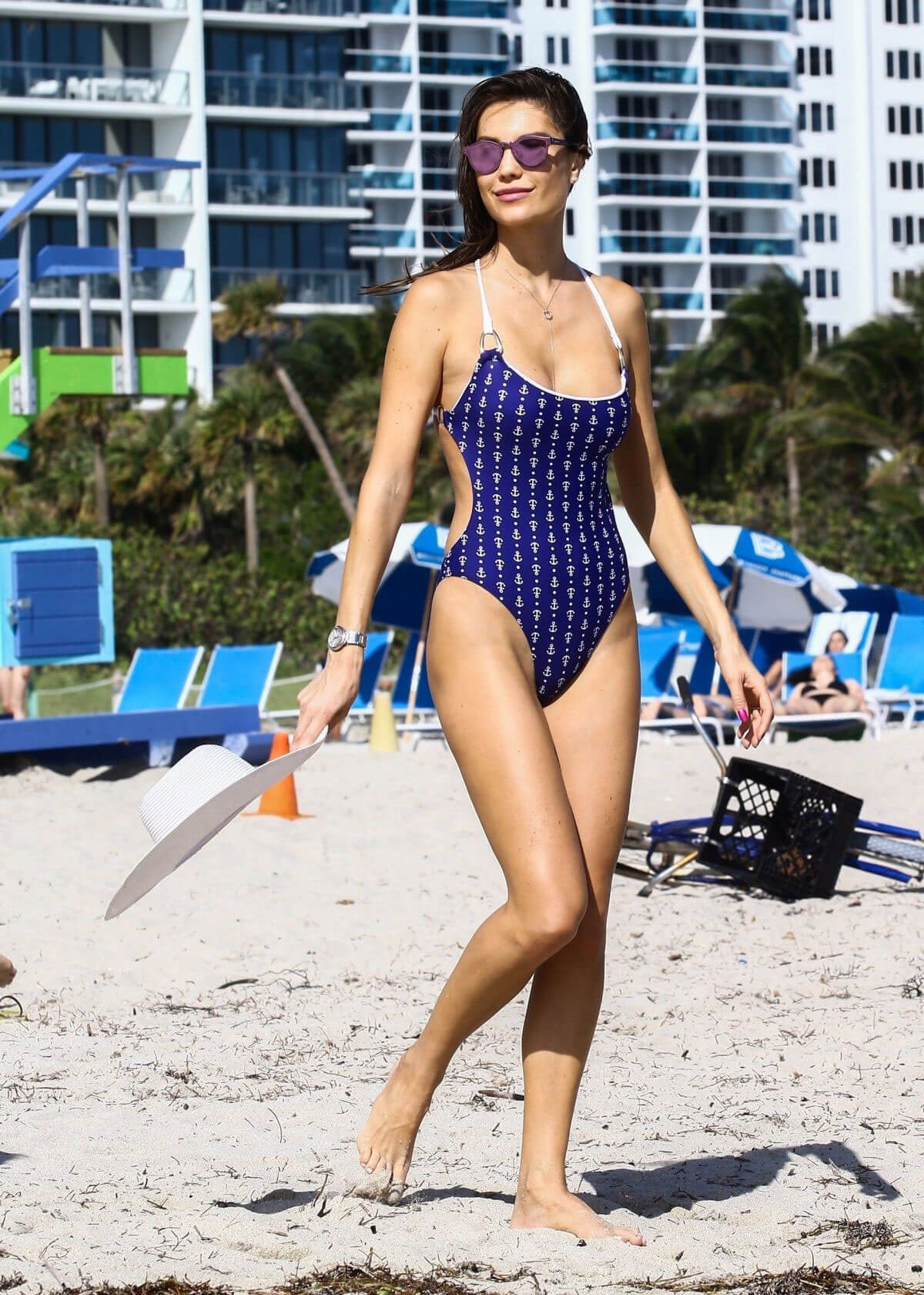 Julia Pereira Stills in Blue Swimsuit on the Beach in Miami