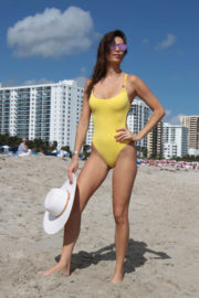 Julia Pereira Stills in Yellow Swimsuit on the Beach in Miami