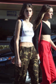Kaia Gerber in Tank Top & Cargo Pants Out and About in Los Angeles