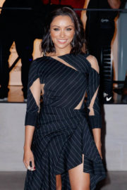 Kat Graham in Stylish Lining Dress Out and About in New York