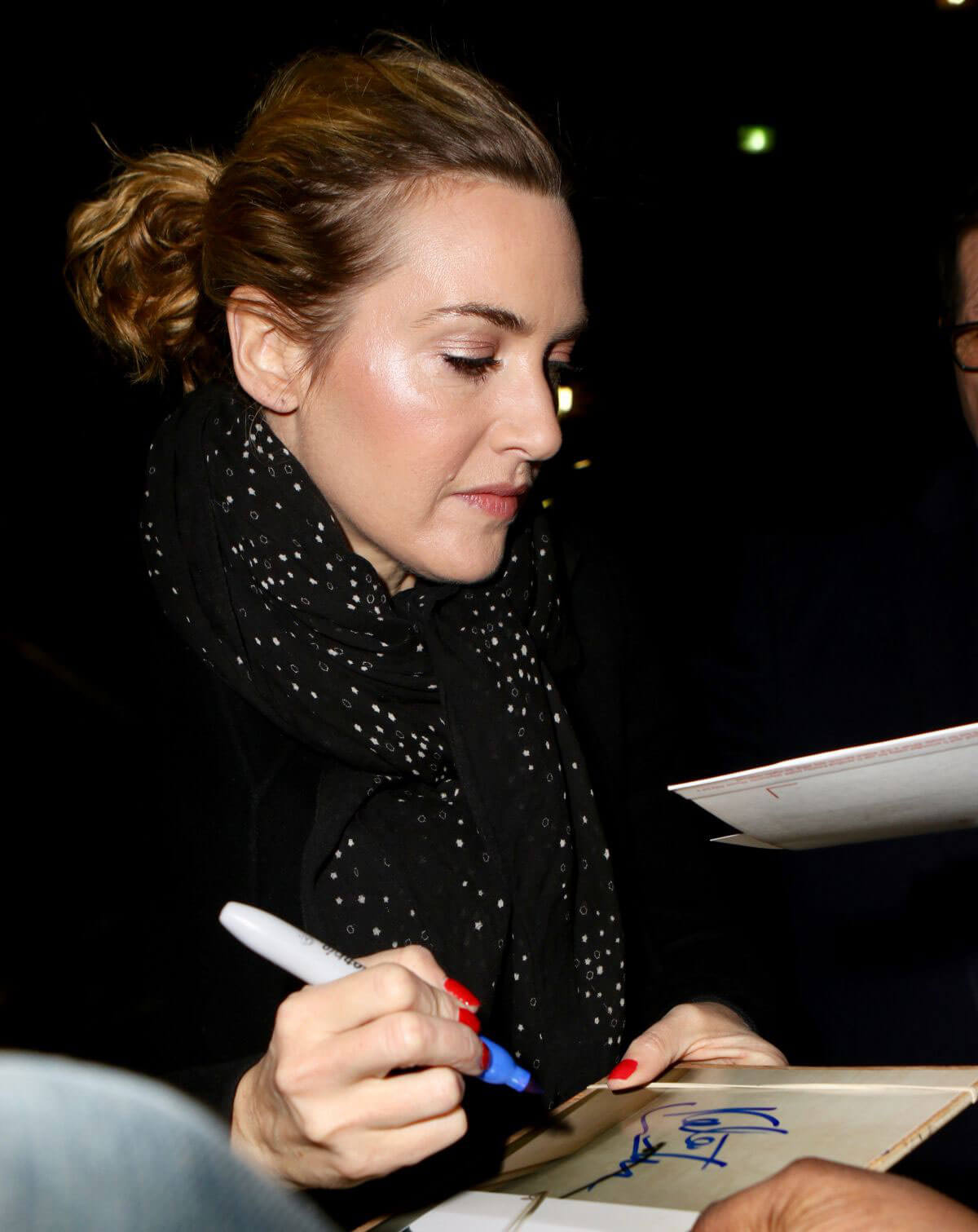 Kate Winslet wears Black Long Jacket & Jeans at Late Show with Stephen Colbert in New York