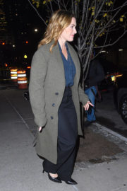Kate Winslet wears Long Coat & Pants Out and About in New York