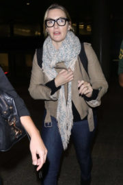 Kate Winslet wears Skull Patterned Scarf Stills at LAX Airport in Los Angeles