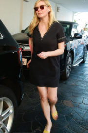 Kirsten Dunst in Black Short Dress Out for Lunch in Beverly Hills