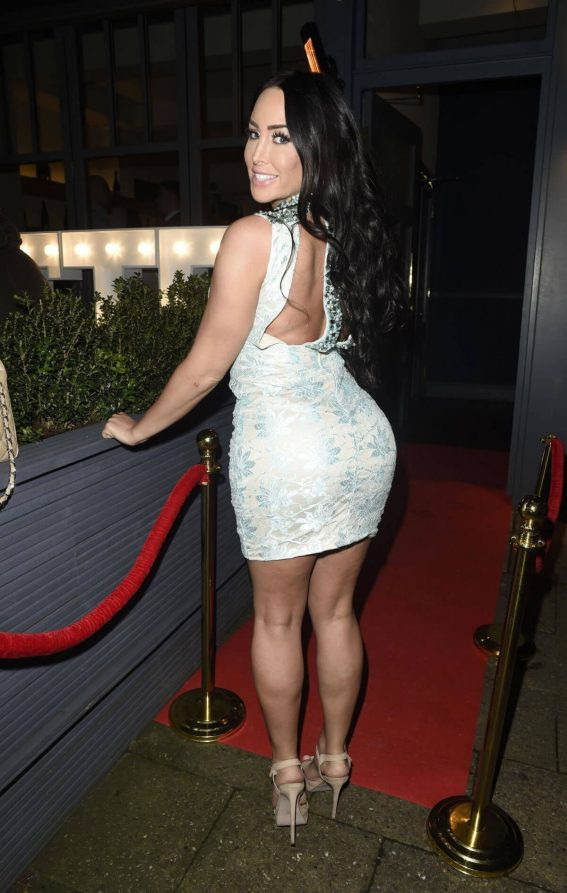 Laura-Alicia Summers shows off beautiful legs in short dress at Blue Lobster in London
