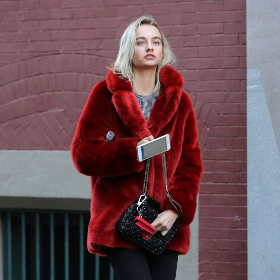 Maartje Verhoef in Red Velvet Jacket & Tight Jeans Out in New York