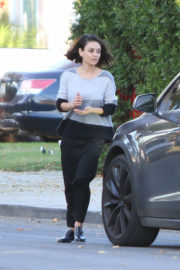 Mila Kunis in Striped Sweater Out and About in Los Angeles