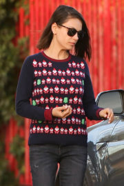 Mila Kunis Stills in Christmas Sweater Out in Los Angeles 2017/12/08
