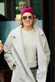 Naomi Watts in Long Jacket & Ankle Lenght Jeans Out and About in New York