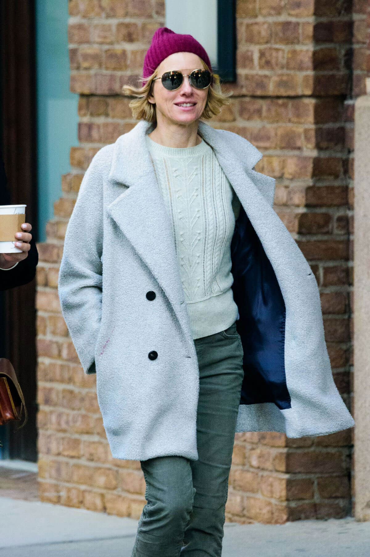 Naomi Watts In Long Jacket Ankle Lenght Jeans Out And About New Coat York