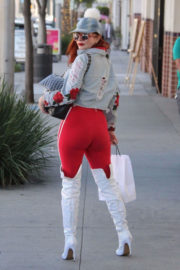 Phoebe Price wears Red Outfit Stills Out Shopping in Beverly Hills
