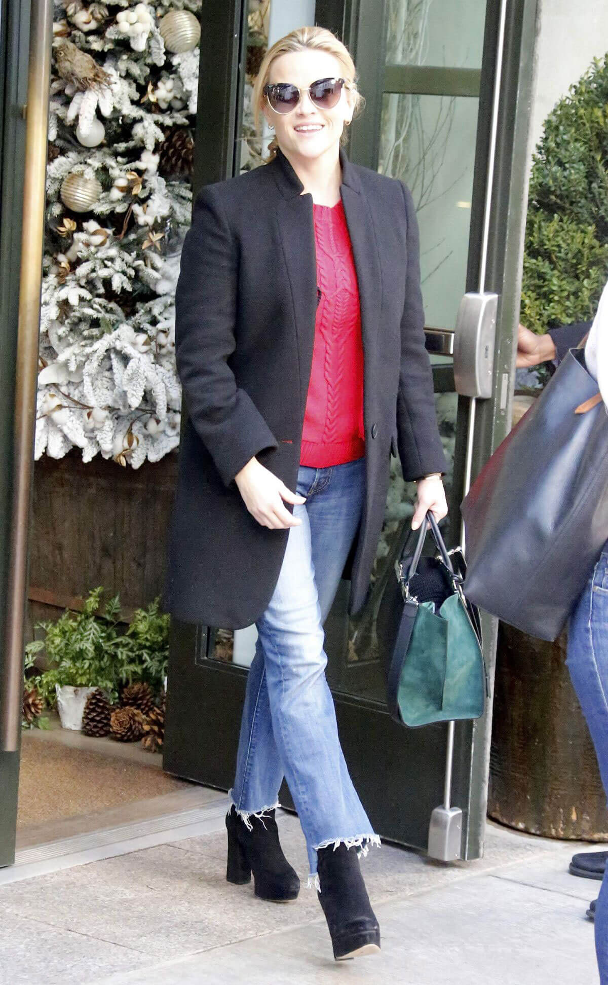 Reese Witherspoon in Long Coat & Blue Jeans Stills Out in New York