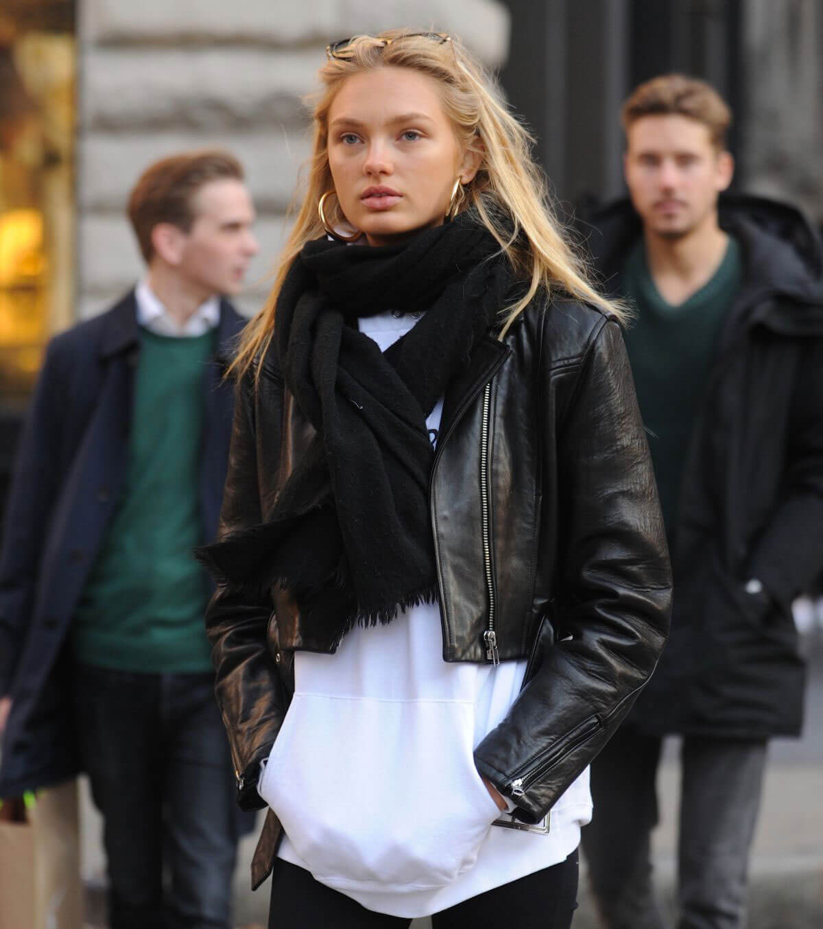Romee Strijd wears Black Leather Jacket & Tights Out and About in New York
