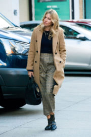 Sienna Miller in Brown Long Jacket & Ankle Trousers Out in New York
