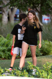 Thylane Blondeau Stills in Jeans Shorts Out in Miami 2017/12/23
