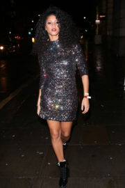 Vick Hope Stills Arrives at Global Radio Christmas Party in London 2017/12/13