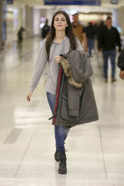 Victoria Justice in Grey Hoodies & Tight Jeans at LAX Airport in Los Angeles