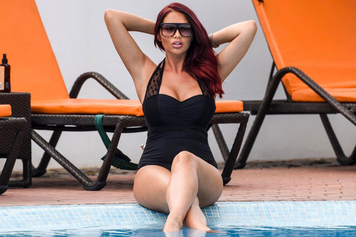 Amy Childs Stills in Swimsuit at a Pool in Cape Verde 2018/01/05