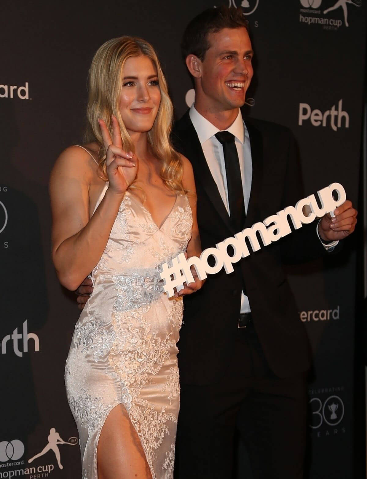 Eugenie Bouchard and Vasek Pospisil Stills at Hopman Cup New Years Eve Players Ball in Perth 2017/12/31
