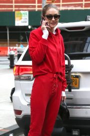 Gigi Hadid Stills All in Red Out in new York 2018/01/30