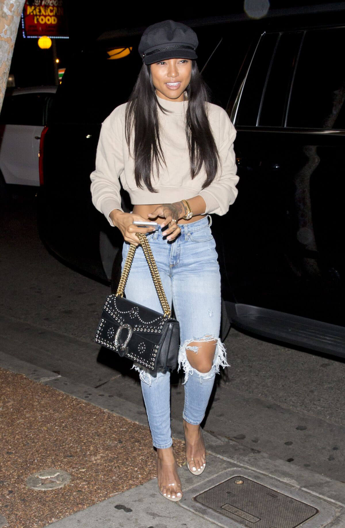 Karrueche Tran Stills in Ripped Jeans at Delilah in West Hollywood 2018/01/26