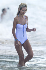 Lady Victoria Hervey Stills in a White Swimsuit on the Beach in Barbados 2018/01/01
