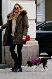 Rachel Hilbert Stills Out with Her Dog in New York 2017/11/14