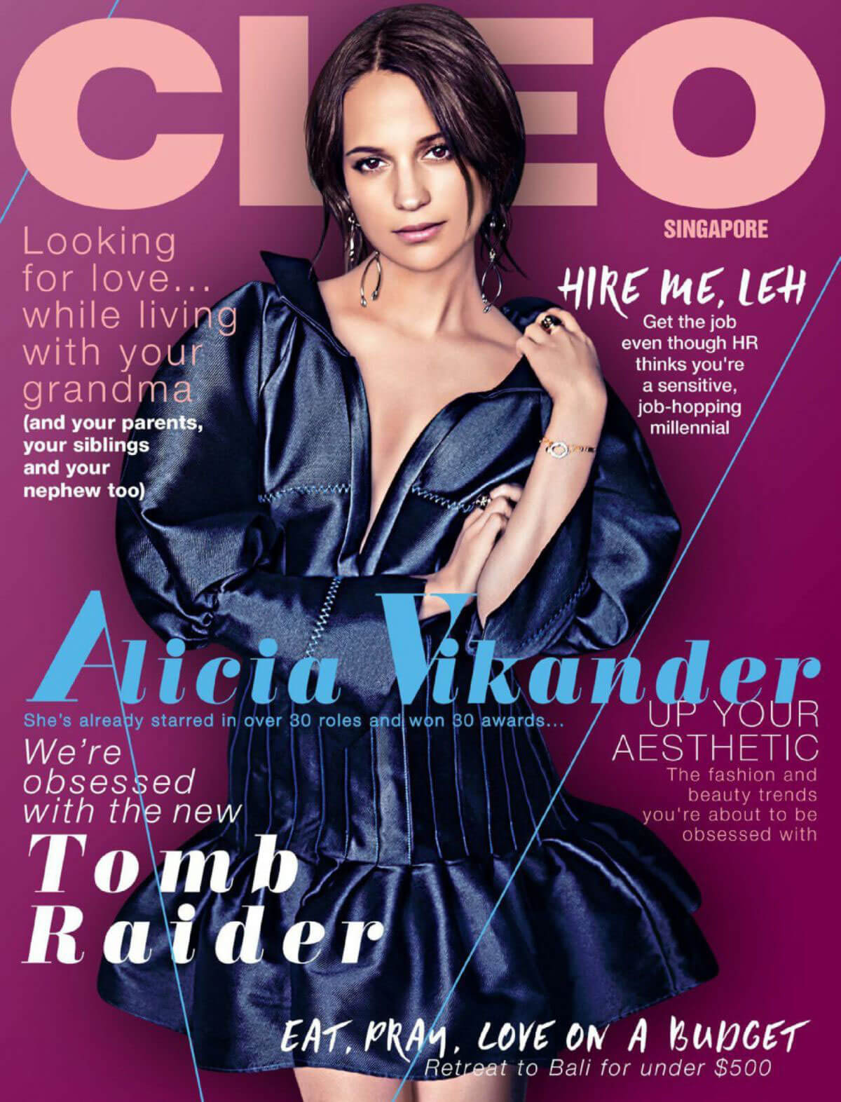 Alicia Vikander Stills in Cleo Magazine, Singapore March 2018 Issue
