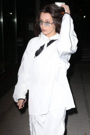 Bella Hadid Stills in White Tracksuit Out in New York 2018/02/06