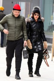 Carla Gugino and Sebastian Gutierrez Stills Out and About in New York 2018/02/09