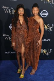 Chloe and Halle Bailey Stills at A Wrinkle in Time Premiere in Los Angeles 2018/02/26