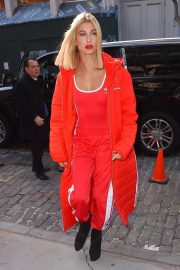 Hailey Baldwin Stills All in Red Out in New York 2018/02/08