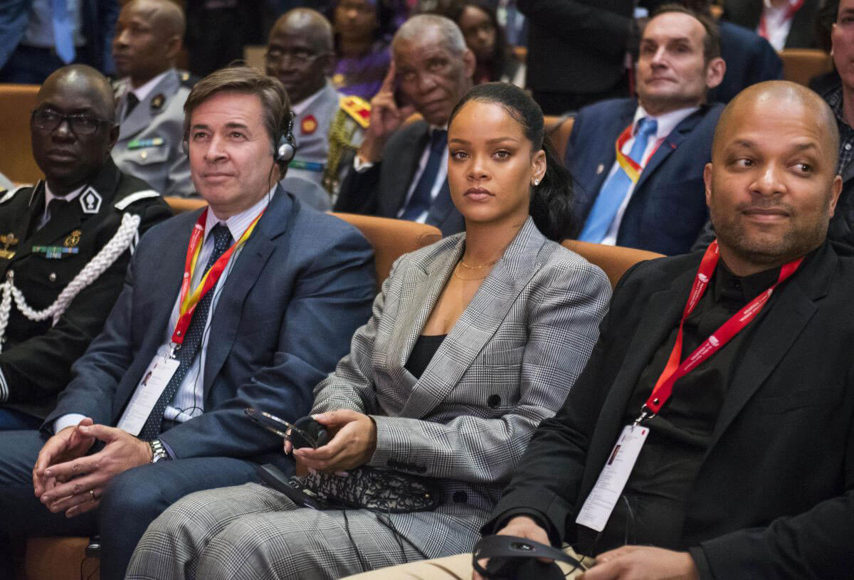 Rihanna and Emmanuel Macron Stills at Global Partnership for Education in Dakar 2018/02/02