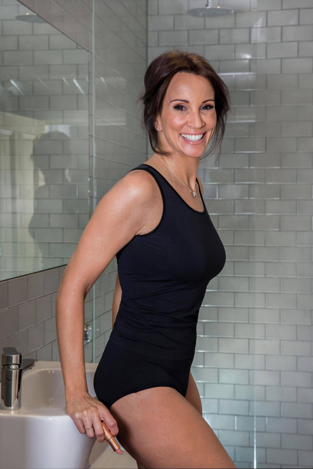 andrea mclean poses for become underwear campaign march. Black Bedroom Furniture Sets. Home Design Ideas